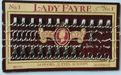 Antique Lady Fayre Hooks And Eyes Card brass Sewing Notions