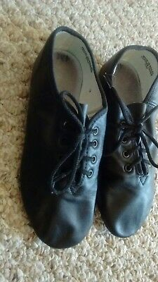 Youth Size 4 Black Leather Jazz Dance Shoes in EUC!