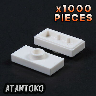 Lego Lot of 100 New White Plates Modified 1 x 2 with 1 Stud Pieces