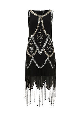 Live 2 Love Art Deco 1920s Gatsby Flapper Cocktail Beaded Hemline Sequin Dress