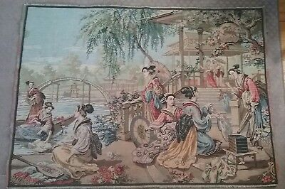 VINTAGE BELGIUM Tapestry Wall Hanging Floor Covering 40x54 Antique Asian Ladies