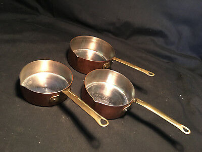 Vtg Collectible Set of 3 Measuring Cups Copper Outside/Bottom Brass Handles
