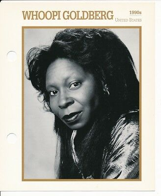 "WHOOPI GOLDBERG MOVIE STAR ENCYCLOPEDIA 5 3/4"" X 7"" CARD-1990's"