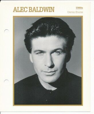 "ALEC BALDWIN MOVIE STAR ENCYCLOPEDIA 5 3/4"" X 7"" CARD-1990's"