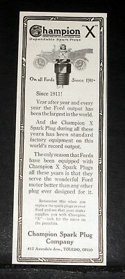 """1916 Old Magazine Print Ad, Champion """"x"""" Spark Plug, On All Fords Since 1911!"""