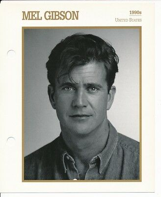 "MEL GIBSON MOVIE STAR ENCYCLOPEDIA 5 3/4"" X 7"" CARD-1990's"