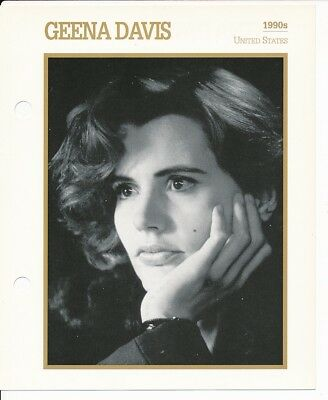 "GEENA DAVIS MOVIE STAR ENCYCLOPEDIA 5 3/4"" X 7"" CARD-1990's"