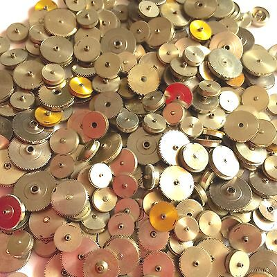 25 Watch Spring Barrels Steampunk Vtg Parts Gears Wheels Lot Repair Watchmaker