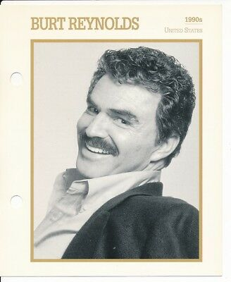 "BURT REYNOLDS MOVIE STAR ENCYCLOPEDIA 5 3/4"" X 7"" CARD-1990's"