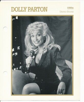 "DOLLY PARTON MOVIE STAR ENCYCLOPEDIA 5 3/4"" X 7"" CARD-1990's"