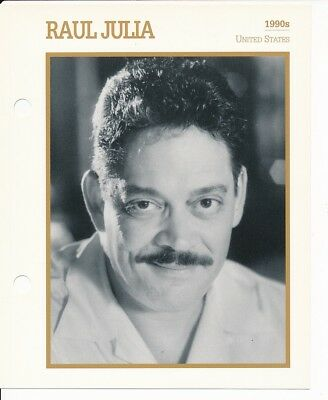 "RAUL JULIA MOVIE STAR ENCYCLOPEDIA 5 3/4"" X 7"" CARD-1990's"