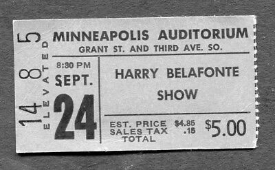 1970's Harry Belafonte Concert Ticket Stub Minneapolis Auditorium