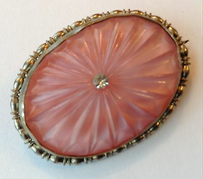 Vintage Art Deco Molded Pink Glass Cab And Clear Rhinestone Brooch
