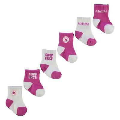 NEW AUTHENTIC All Star Converse Baby Girl Socks 6 Pack Pink 6-12 months 1-2 year