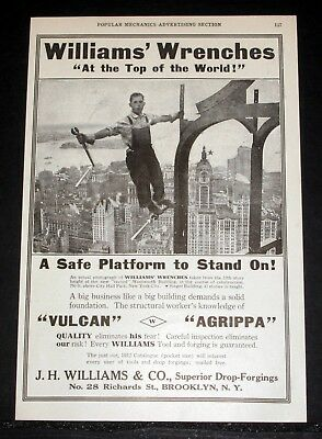 "1912 Old Magazine Print Ad, Williams ""vulcan"" & ""agrippa"" Wrenches And Tools!"