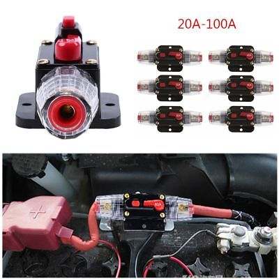 20A-100A 12V AMP Car Audio Solar Energy Inline Circuit Breaker Fuse Holder 2018