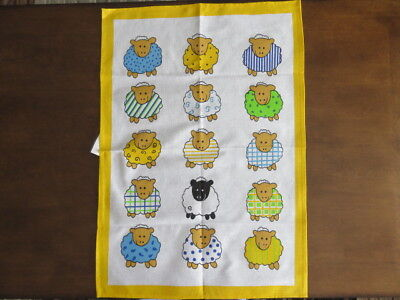 Kitchen Tea Towel - Lambs - White - Yellow - (Unused)