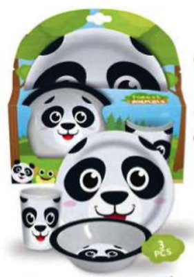 Panda 3-Piece Mealtime Set with Plate, Bowl & Tumbler - Dinnerware Set for Kids