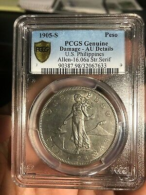 "US PHILIPPINES ONE PESO 1905-S STRAIGHT SERIF ""1"" ALLEN 16.06a PCGS AU DETAILS"