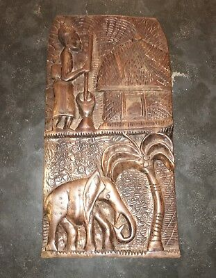 Large African Wood Carving Wall Art