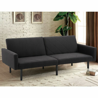 Futon Sofa Bed Convertible Recliner Couch Splitback Sleeper W Wood Legs Black