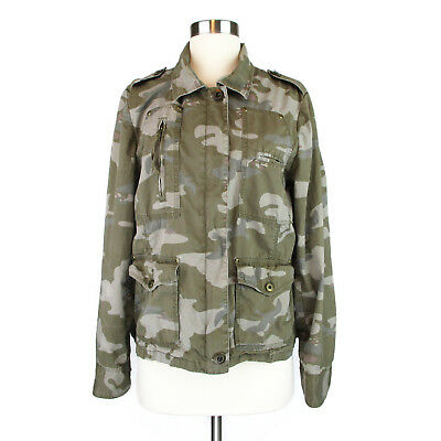 Old Navy Large Camo Jacket Womens L Army Green Cargo Surplus Military Coat Zip