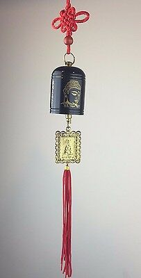 """Chinese Lucky Feng Shui Buddha Guanyin Hanging Bell - Black Gold Metal 12""""L New"""