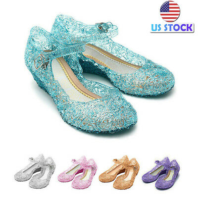 US Kids Girls Crystal Sandals Jelly Party Shoes Fancy Frozen Princess Shoes Size