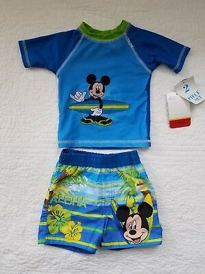 New Baby Boys Disney Swim Set Rash Guard Shorts Mickey Mouse Surf Blue 3/6M 6/9M