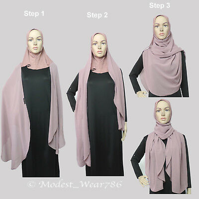 2in1 Effortless Chiffon Hijab and Underscarf Muslim Islam Headcover 200x70cm