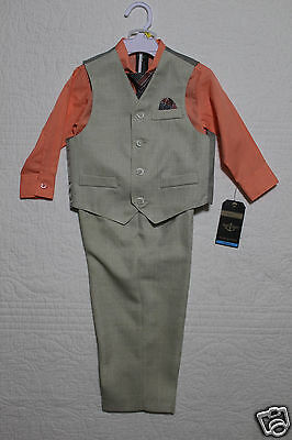 New Boys Dockers 4 Piece Suit - Shirt, Vest, Pants, Tie Size 2T Nwt $46