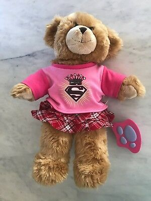 Brown Teddy Build A Bear with outfit and brush