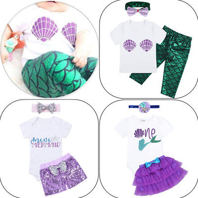 Newborn Kid Baby Girl Little Mermaid Costume Outfit Girls Party 3Pcs Clothes Set