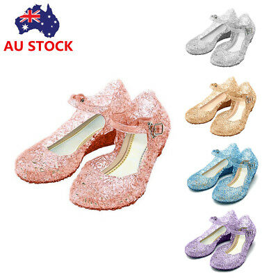 Kids Girls Summer Elsa Strap Sandals Princess Wedding Cosplay Party Jelly Shoes