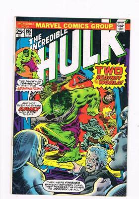 Hulk # 196 Two Against the World ! grade 5.0 scarce book !!