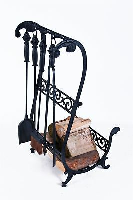 Black Solid Cast Iron Heavy Duty Fireside Log Basket With Tools
