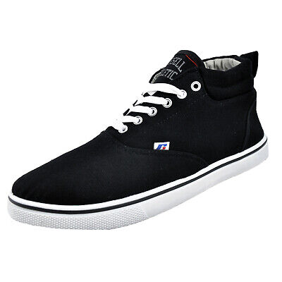 Russell Athletic Mid Cut Mens Calssic Casual Canvas Plimsoll Trainers Black