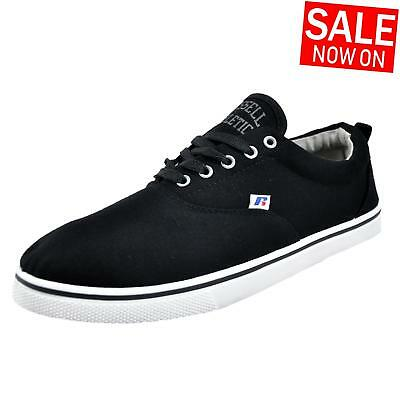 Russell Athletic Oxford Lace Mens Calssic Casual Canvas Plimsoll Trainers Black
