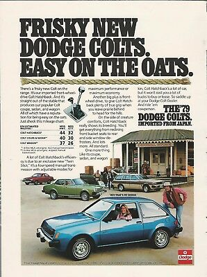 1979 DODGE COLT advertisement, Dodge ad, Colt hatchback sedan etc