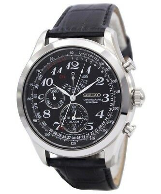 Seiko SPC133P1 Quartz Leather Strap Chronograph Perpetual Watch WR 100m RRP £199
