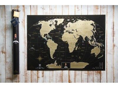 Deluxe Map Black Scratch the World - Gift Tube, Personal Poster, Scratch