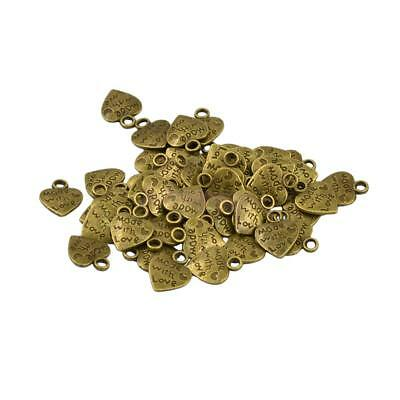 50Pcs Antique Bronze Made with Love Heart Charms Pendants DIY Jewelry Making