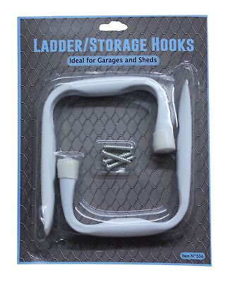 New 2 White Brackets Heavy Duty Wall Mounted Ladder Storage Shed Utility Hooks