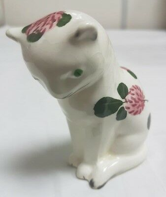 Vintage Plichta Wemyss Style Bovey Pottery Seated Cat Pepper Pot Clover Pattern