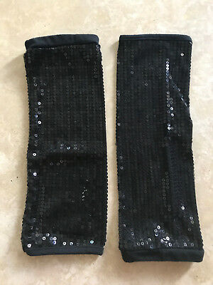 Justice Girls'  Leg Warmers Black Sequins Dance One Size Fits All