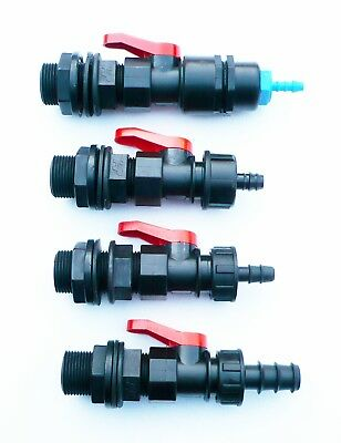"3/4"" BSP Tank Adapter with in-line ball valve to  Barbed Hose Tail (4 Sizes)."