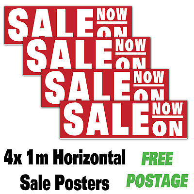 4 X Sale Now On Posters Advertising Signs, 1 Metre High. Gloss Poster Sales 1M