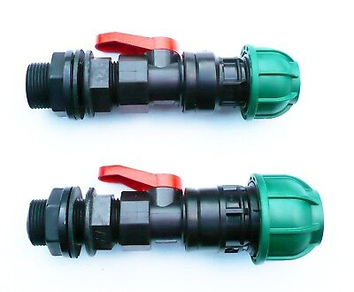 "3/4"" BSP Tank Adapter with in-line ball valve to MDPE Compression Connector"