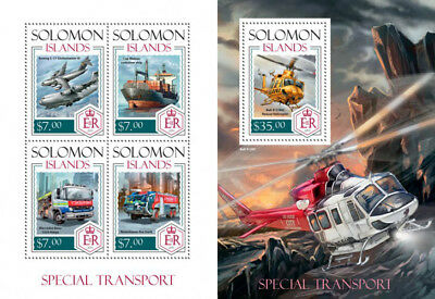 Special Transport Cars Helicopters Ships Planes Solomon Islands MNH stamp set