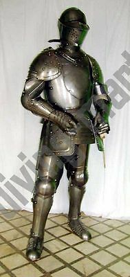 Antique Medieval Suit of Armor 17th Century Combat Full Body Armour With Base